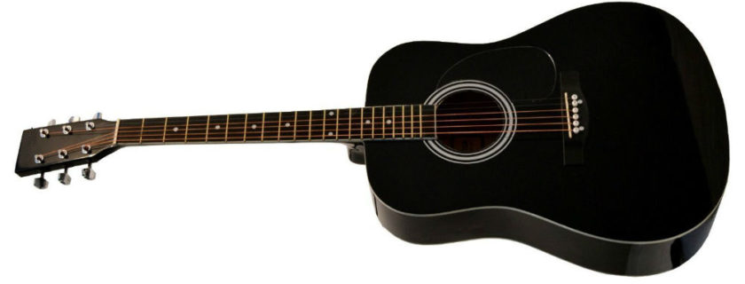 41-Inch Full Size Black Handcrafted Steel String Dreadnought Acoustic Guitar
